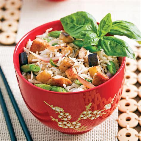 cuisiner le vrai riz frit chinois riz frit au porc et à l 39 aubergine recettes cuisine et