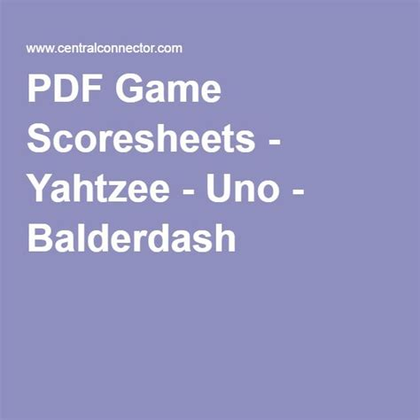 game scoresheets yahtzee uno balderdash yard