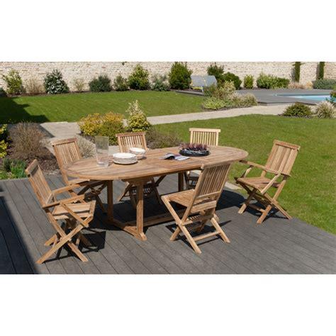 chaises fauteuils salon de jardin n 3 en teck comprenant 1 table ovale 4