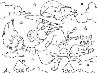 Halloween Coloring Bruja Escoba Volando Witch Magica