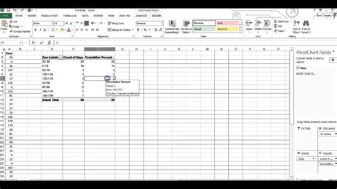 create  pareto chart  pivot table youtube