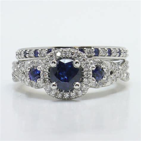 diamond  sapphire gemstone bridal set
