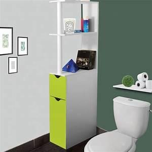 Petit Meuble Pour Wc : meuble wc tag re bois gain de place pour toilette 2 portes vertes ~ Teatrodelosmanantiales.com Idées de Décoration