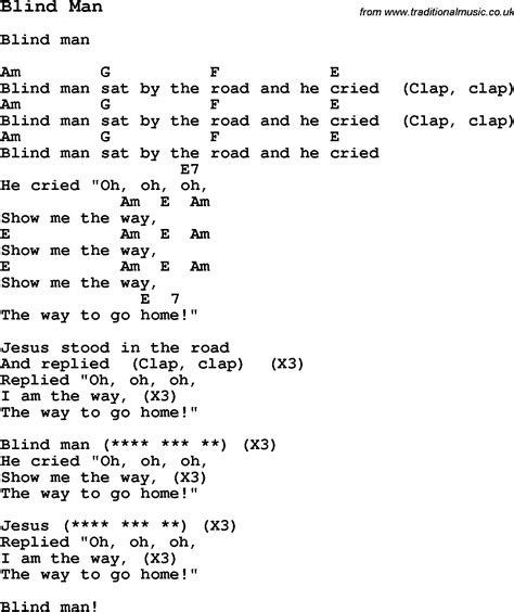 Summer Camp Song, Blind Man, With Lyrics And Chords For