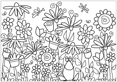 Various flowers with a cute frog Flowers Adult Coloring