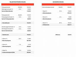 Verkaufspreis Berechnen : numbers vorlage selbstkostenrechnung selbstkostenkalkulation ~ Themetempest.com Abrechnung