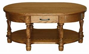 amish coffee table oval traditional solid wood twisted leg With solid oak oval coffee table