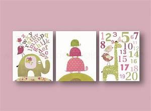 Baby girl room decor nursery wall art kids elephant