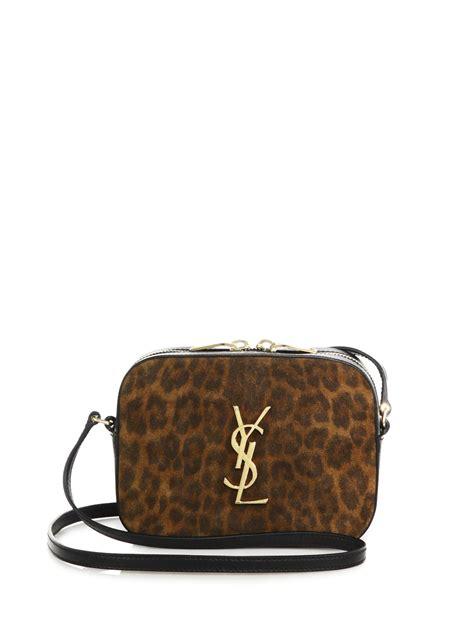 saint laurent monogramme leopard print suede crossbody bag