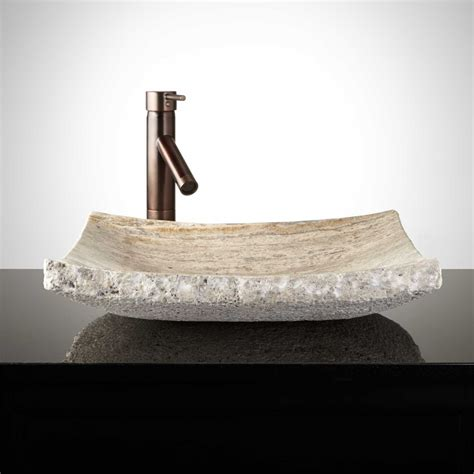 Curved Rectangular Travertine Vessel Sink  Chiseled Edge