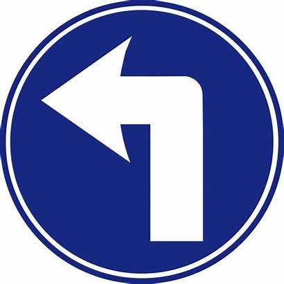Turn Left Sign Road Ahead Mandatory Svg