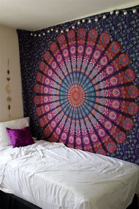 queen pink purple indian mandala throw tapestry dorm