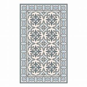 Tapis jaffa impression carreaux de ciment sur vinyle for Tapis pvc imitation carreaux de ciment