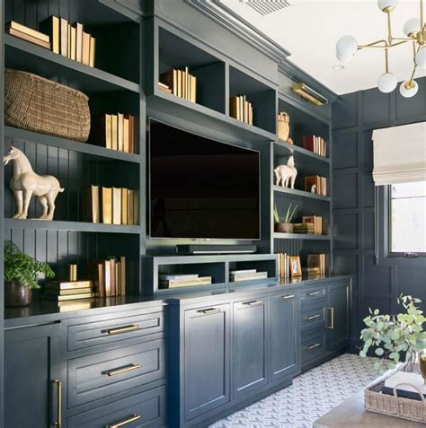 home office built ins or living room builtins in navy