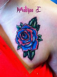 Neo Traditional Blue and Hot Pink Rose by MistryssC on ...