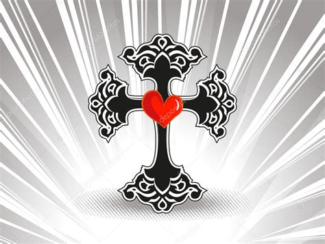 Rays Background With Isolated Black Cross, Heart
