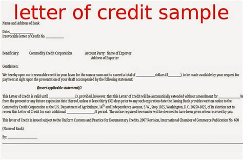 letter  credit sample samples business letters