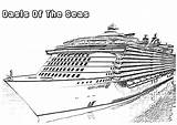 Cruise Ship Coloring Pages Oasis Seas Drawings Netart sketch template