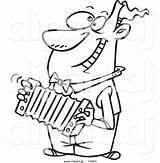 Cartoon Clipart Accordion Playing Outline Coloring Happy Guy Listen Listening Leishman Ron Dj Toonaday Mu Comptons Clipground sketch template