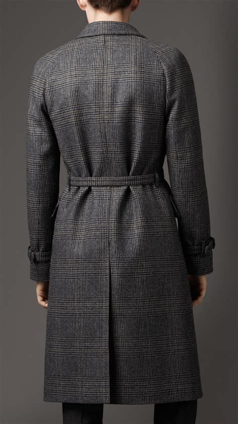burberry prince  wales check wool top coat  gray