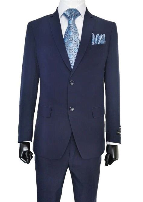Navy suits are so versatile, so you're in luck! Mens Cheap Navy Blue Suit Discounted on Sale 2PP