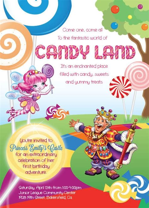 Choice Of Printable Custom Candy Land Invitations By