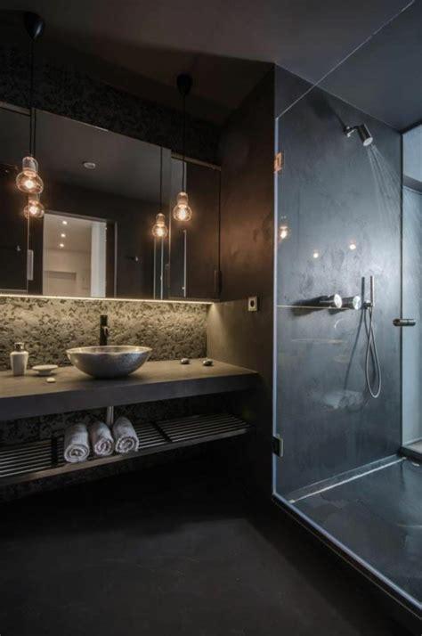Kleines Badezimmer Schwarze Wandgestaltung Attraktive