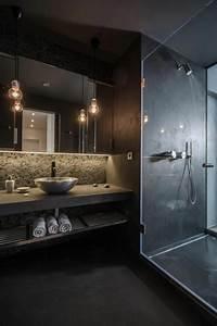 Moderne Wandgestaltung Bad : kleines badezimmer schwarze wandgestaltung attraktive beleuchtung dusche waschtidch ~ Sanjose-hotels-ca.com Haus und Dekorationen