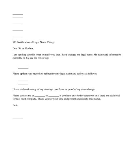 notification   change letter sample template