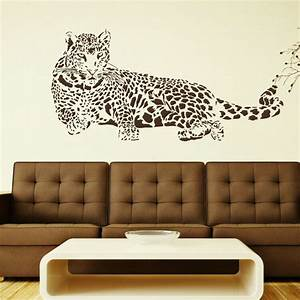 huge leopard big cat wall sticker animal art wall decor With cat wall art