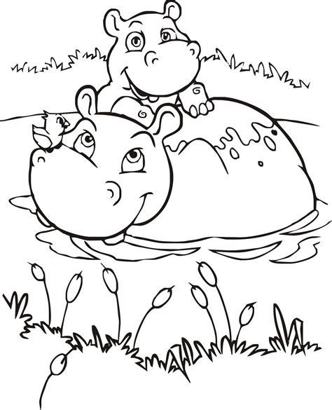 Desenhos para colorir: Desenho para colorir de Hipopótamo