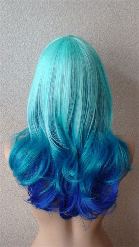 Mint Blue Teal Electric Blue Tri Colors Ombre Wig
