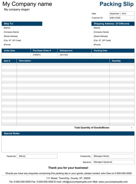 packing list format template  excel