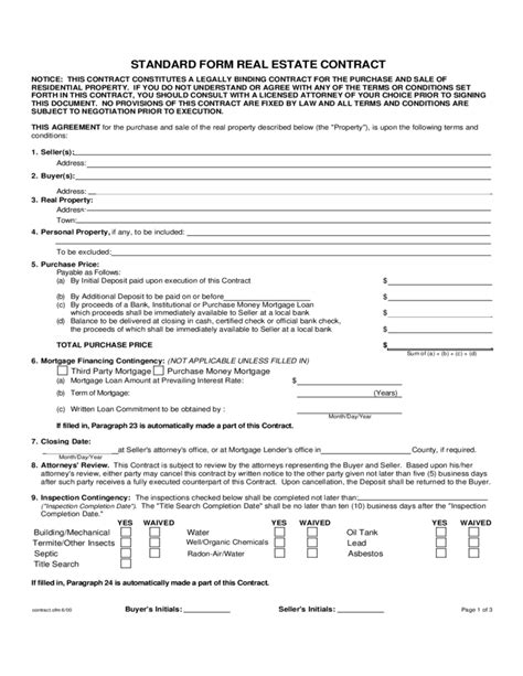 standard form real estate contract connecticut
