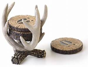 61 inch brown and white deer antler design log coaster With kitchen colors with white cabinets with deer antler candle holders