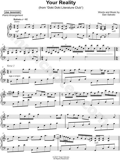 joe jeremiah quot your reality quot sheet music piano solo in c major download print sku mn0181715