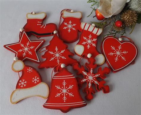juegos de arboles de navidad juego 9 madera rojo blanco shabby adornos para 193 rbol de navidad calcet 237 n ebay decoraci 243 n