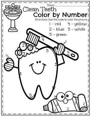 preschool dental health planning playtime 415 | Preschool Dental Health Worksheets Color By Number Teeth Brushing.
