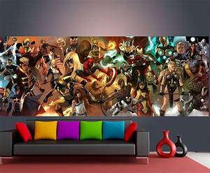 Marvel comic wall mural design decoration for Best brand of paint for kitchen cabinets with marvel comics wall art