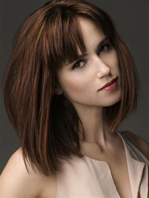 Length Hairstyles With Bangs by Medium Length Bobs With Bangs