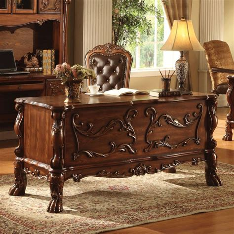 hand carved executive desk traditional antique solid carved wood office desk table