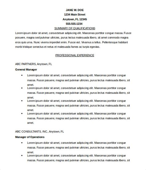 Resume Format Exles For by Microsoft Templates 18 Free Word Excel Ppt Pub
