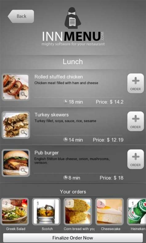 application cuisine android innmenu free restaurant menu applications android sur