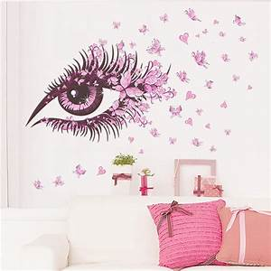 Flower Fairy Eyelash Butterfly Wall Stickers For Girls