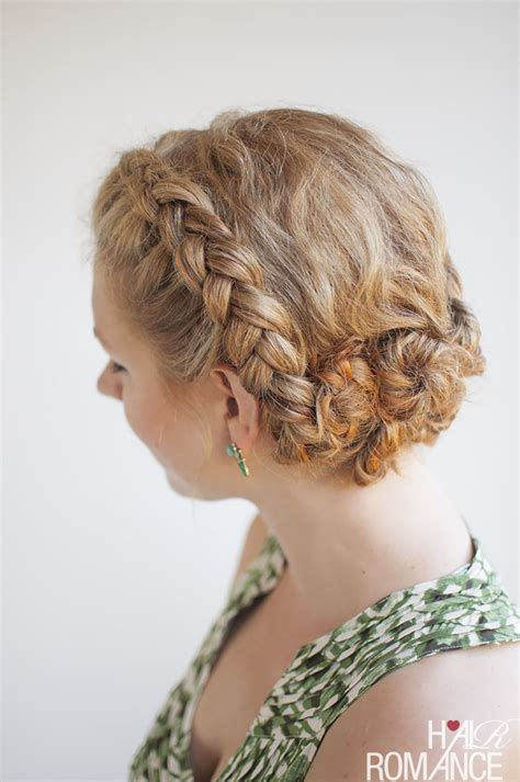 twist and pin braided updo for curly hair hair romance