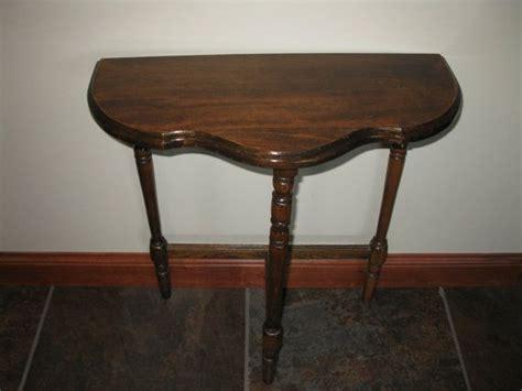 three legged wooden table vintage half moon side table 3 legged table small wood