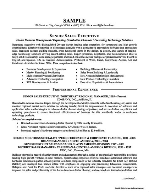 sle resume format for experienced sales executive