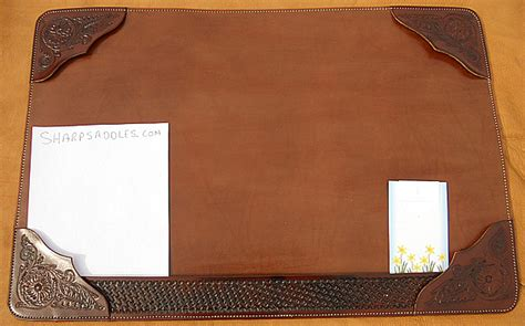 custom usa leather desk mat hand tooled heavy duty suede