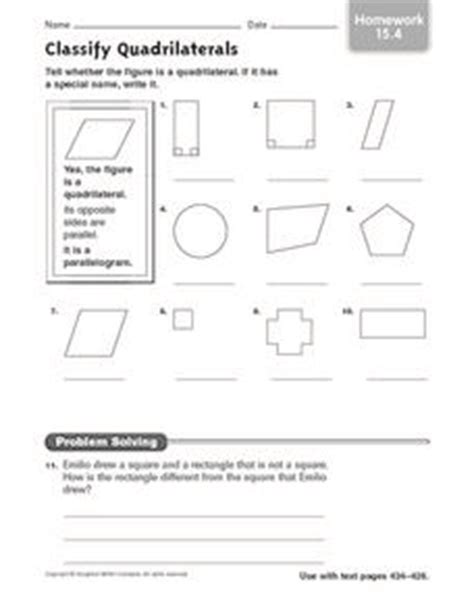 classify quadrilaterals homework 15 4 3rd 4th grade worksheet lesson planet