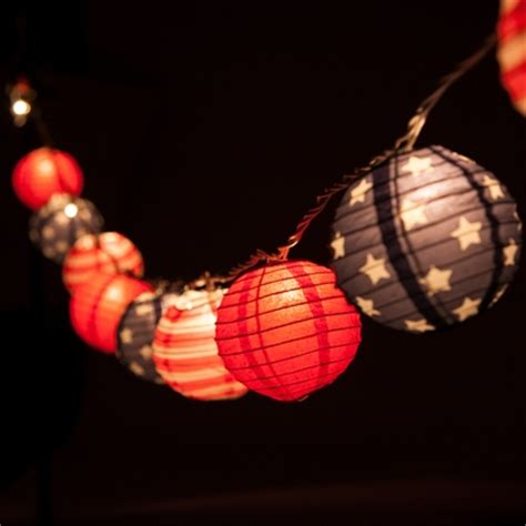 paper lantern string lights 10 socket 4th of july white and blue paper